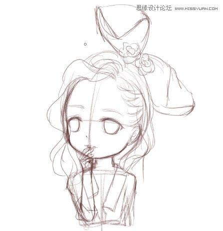 制作q版卡通女孩头像的ps仿手绘教程